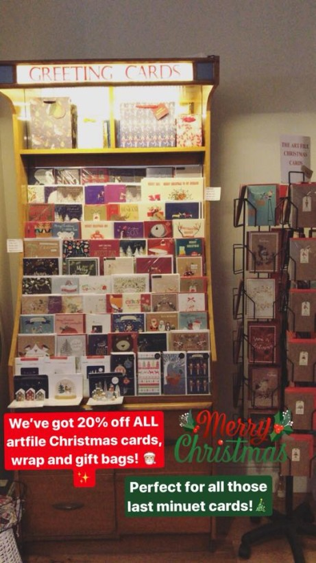 20% off all of our Christmas cards, Gift wrap and Gift bags!