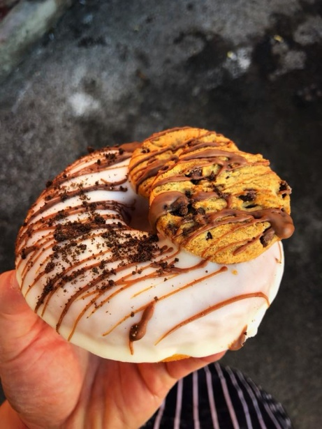 Check out our freshly made doughnuts in-store today, like this Cookies and Milk one!