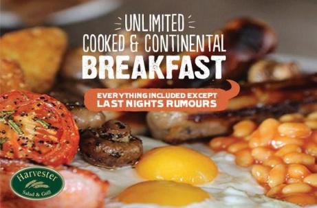 BREAKFAST at Harvester - FREE UNLIMITED Breakfast Bar + Kids EAT FREE!