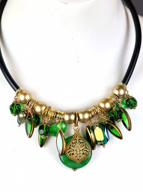 Chunky Emerald Green and Gold Necklace - £46.00!