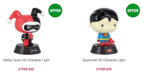 Mix and Match on DC Comics Character Lights - 2 for ONLY £20!