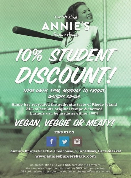 STUDENTS: Monday-Friday from 12-5pm, you can get 10% off the price of your food and drink!