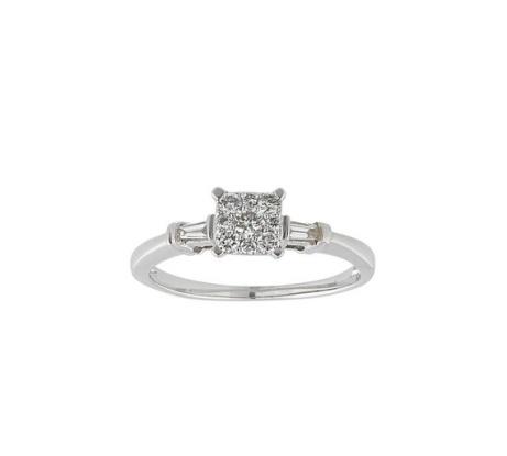 LESS THAN HALF PRICE - Revere 9ct White Gold 0.25ct tw Diamond Square Cluster Ring!