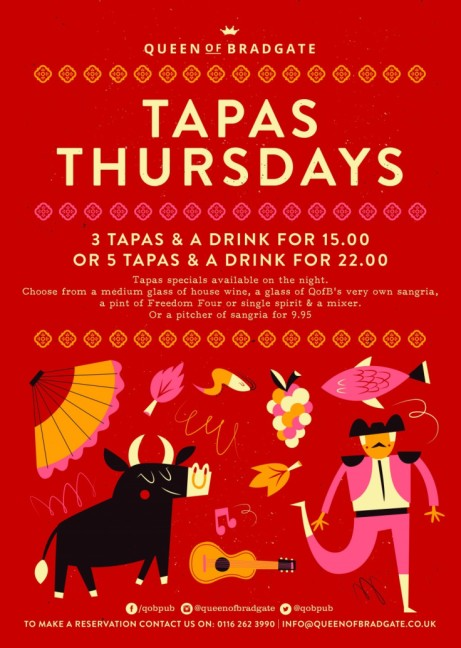 TAPAS THURSDAYS - 3 Tapas & a drink for £15.00!
