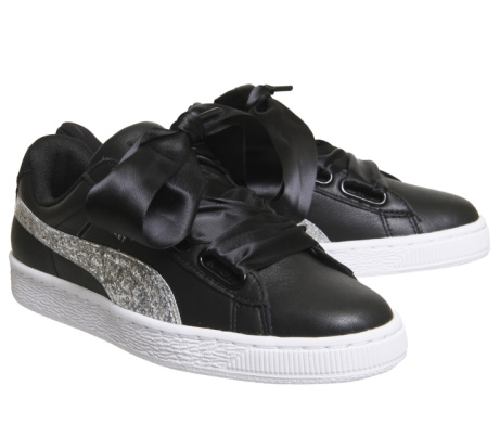 30% OFF - Puma Basket Heart Trainers in Black & Silver Glitter!