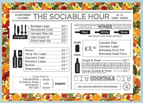 Sociable Hour sessions - a selection of drinks starting at £2 from 4-7pm