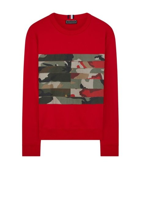 SAVE £133.00 - Hilfiger Edition Camouflage Flag Panel Sweatshirt in Red!