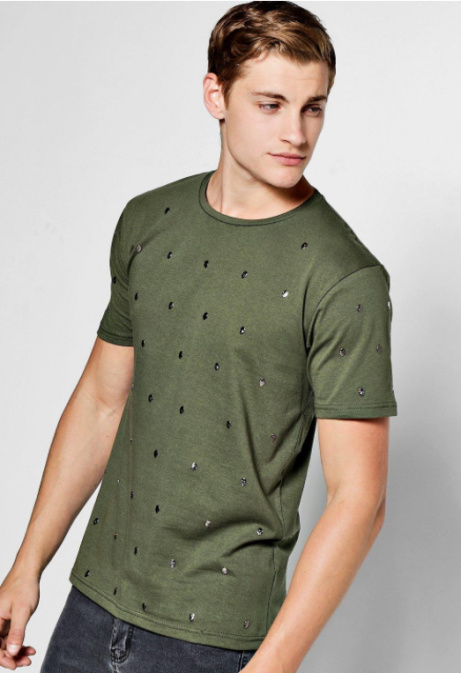25% OFF Men's Skull Studded T-Shirt!