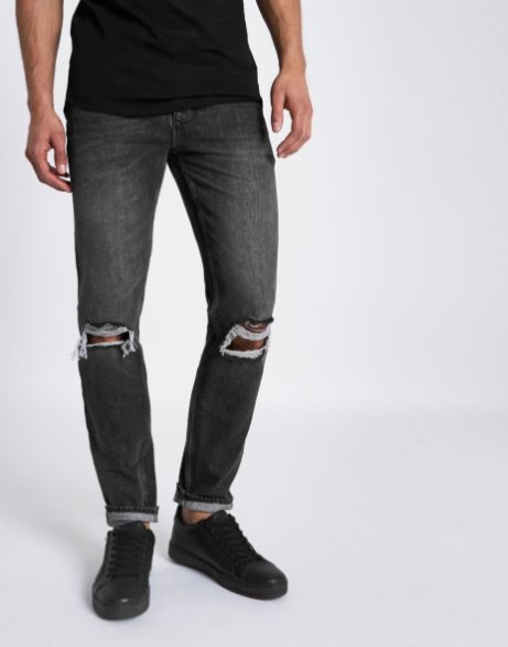 50% OFF - Black Roy Warp Distressed Skinny Jeans!