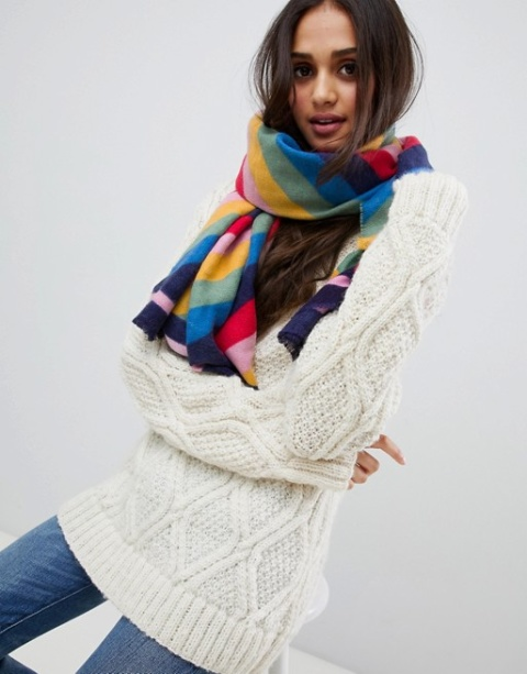 SHOP COLD WEATHER ACCESSORIES - Accessorize rainbow blanket scarf £20.00!