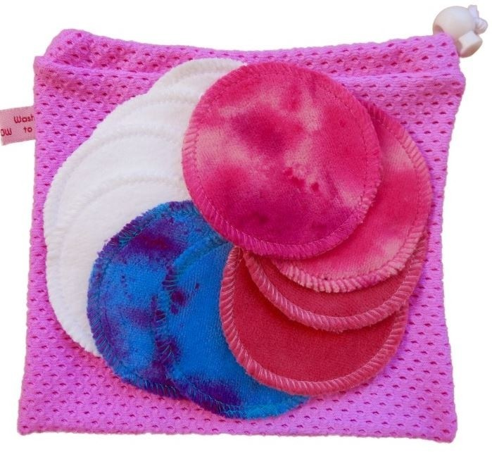 10 Organic Cotton Round Makeup Wipes + Organic cotton wash bag - Pink: £19.99!