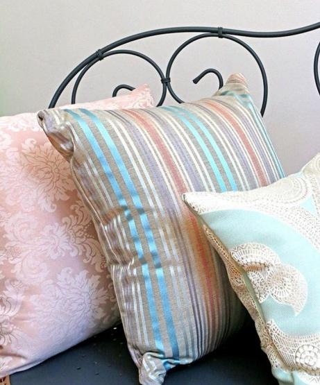 Striped Cushion - soft grey, aqua blue & copper £22.50!