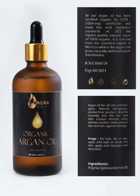 Pure Gold Argan Oil 100ml. Triple filtered & Purified, 100% Organic cold pressed.