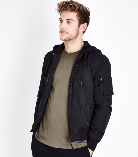 SAVE OVER 50% OFF This Black Jersey Hooded Bomber Jacket!