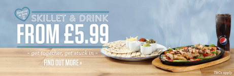 Get together and get stuck in Skillet & Drink - £5.99!