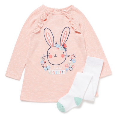Pink Bunny Sweat Dress and Tights Set - ONLY £4.50