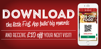 Download our Frankie & Benny's app and receive £10 OFF your next order!