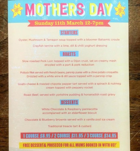 Book in advance for Mother's Day and get your Mum a free dessert & a glass of Prosecco