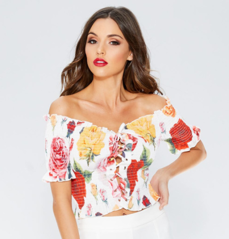 SAVE 35% on this Multicoloured Floral Bardot Lace Up Top!