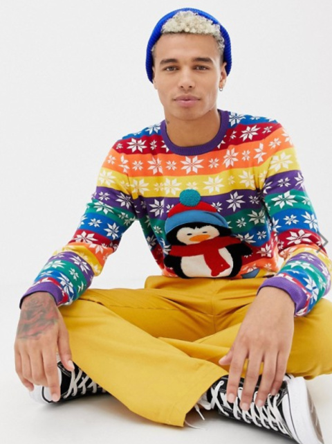 ASOS DESIGN Foundation Christmas jumper with embroidered penguin