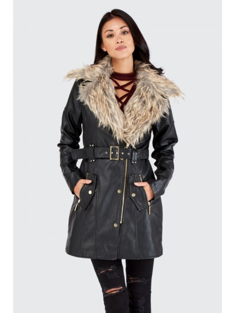 SAVE £20 on this Top Fur Collar PU Trench Coat