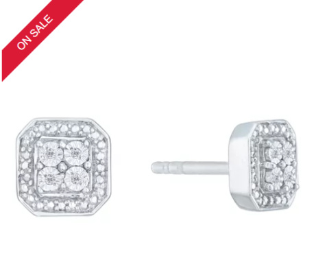 SAVE £90 on these Sterling Silver & Diamond Square Cluster Earrings!