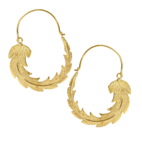 OTTOMAN HANDS GOLD FEATHER HOOP EARRINGS - £30.00!