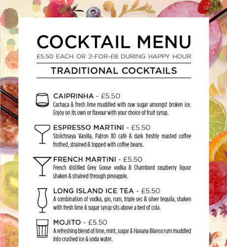 Cocktails are 2 for £8 all Night