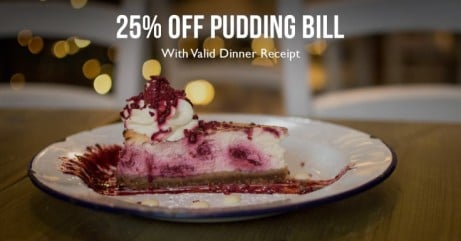 Take 25% off your bill when you show us a valid dinner receipt!