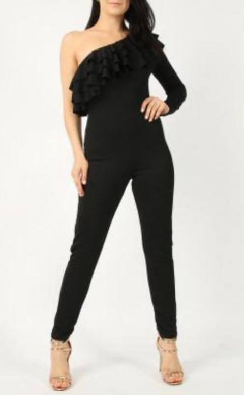 Black one shoulder jumpsuit!