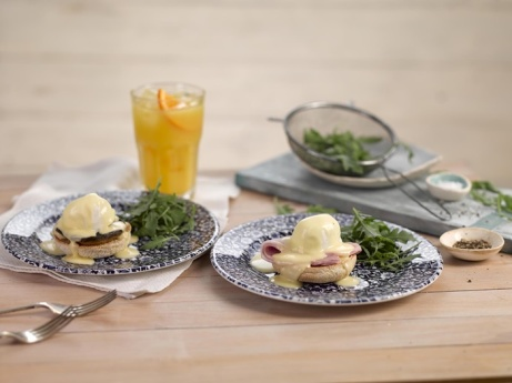 Eggs Benedict and mushroom Benedict are now available in half-size portions - Get to your local!