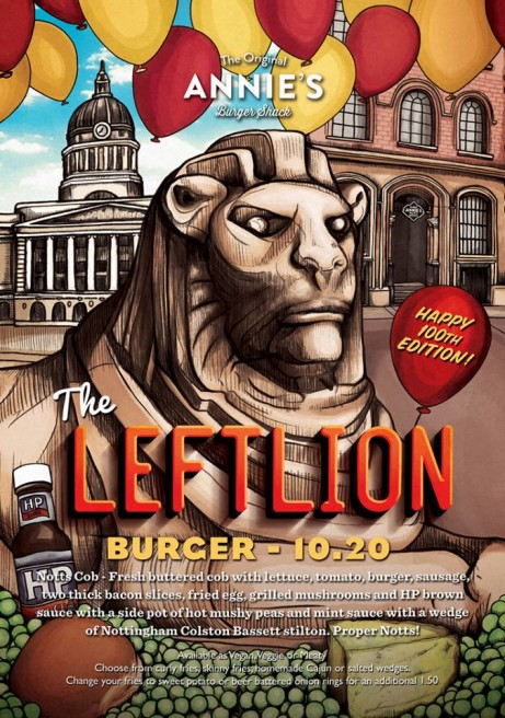 Ay up duckeh! Annie's brand new special is available right now! The Leftlion Burger.