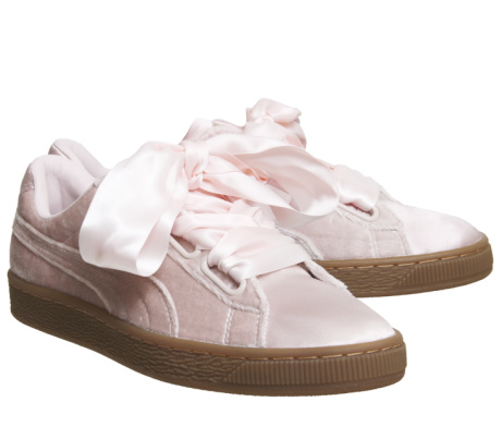Puma Basket Heart Trainers Silver Pink Gum - LESS THAN 1/2 PRICE!