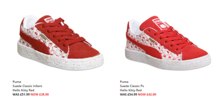SAVE up to 27% on Puma Suede Classic Hello Kitty Red Trainers!