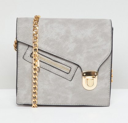 SAVE 69% on this Yoki Fashion Grey Shoulder Bag with Clasp and Zip!