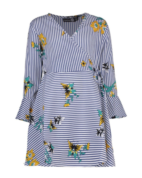 SAVE 22% on this Girls Floral & Stripe Wrap Dress!