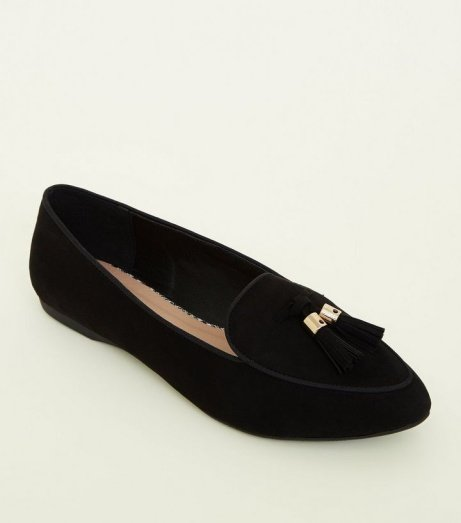 SAVE 25% OFF Girls Black Suedette Pointed Front Tassel Loafers!