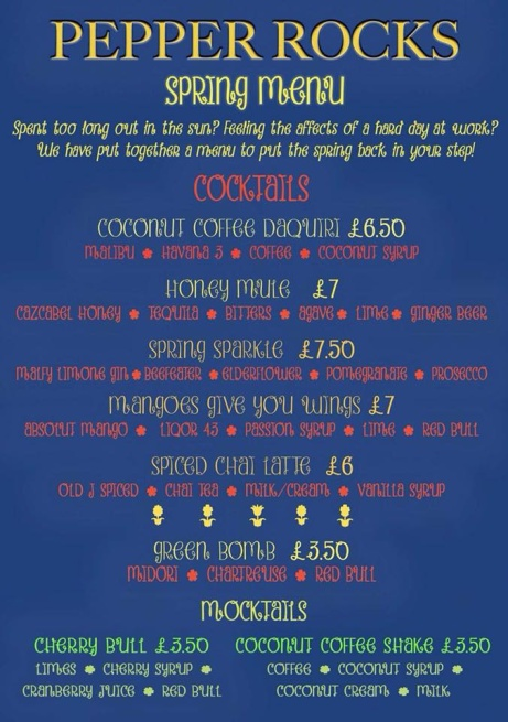 Pepper Rocks NEW Spring Menu - We'll make up for the absence of sunshine!