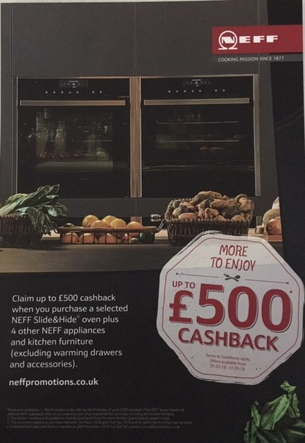 Get Up to £500 Cashback on NEFF Appliances
