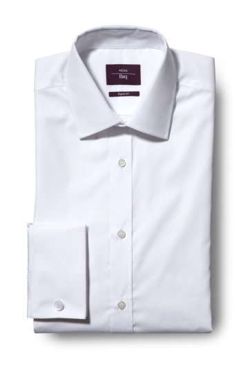 SALE, 15% OFF SHIRTS - Moss Esq. Regular Fit White Double Cuff Non Iron Shirt!