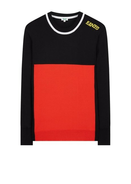 Kenzo Knitted Colourblock Jumper in Black/Red: Save £113.00!