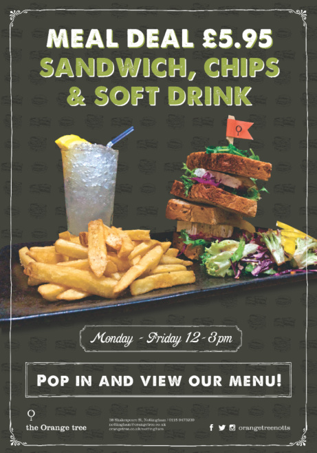 Lunchtime Meal Deal - £5.95 for a Sandwich, Chips & Soft Drink!