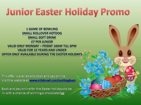 Check out our Easter junior offer. 1 game, hotdog and small soft drink for just £7 per child.