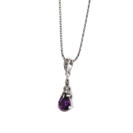 Save £12 on this Marcasite and Amethyst (Cubic Zircona) Drop Pendant