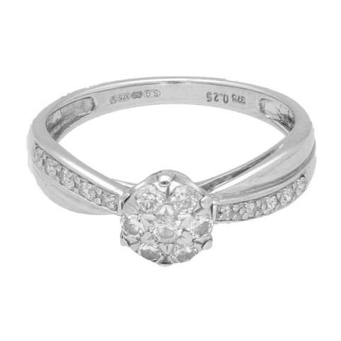 9Carat White Gold 0.25ct Diamond Cluster Ring (Size M) 6mm Head - £199.00!