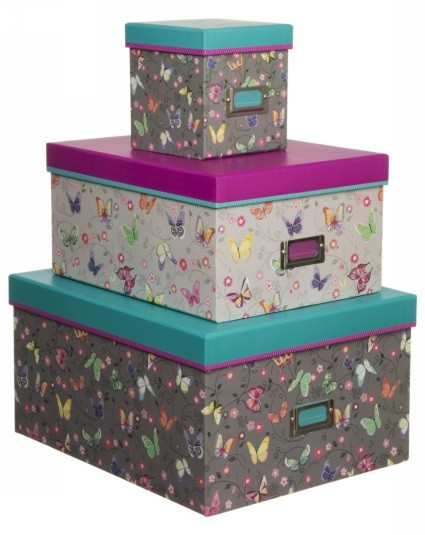 Beautiful WHSmith Amelie Colourful Butterfly and Floral Nested Storage Boxes: Save £12.00!