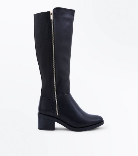 30% Off Boots - Wide Fit Black Zip Side Knee High Boots: SAVE £13.50!