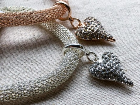 Glitter heart bracelets from D & X Silver and Rose Gold Colour from £5.95!