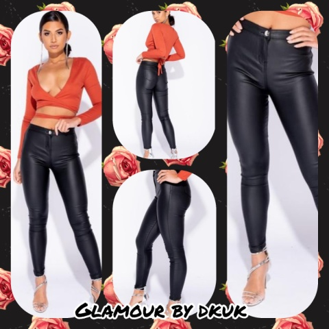 LEATHER LOOK COATED HIGH RISE JEGGINGS/JEANS