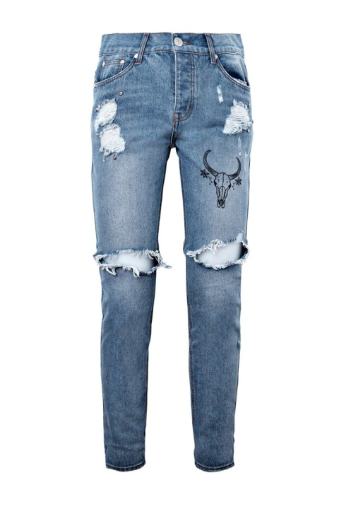 SALE - SKINNY FIT RIPPED KNEE JEANS WITH PRINT!